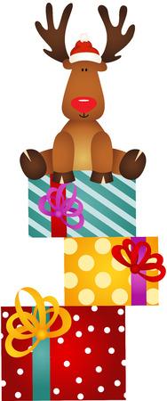 cervidae: Cute reindeer sitting on Christmas Gifts