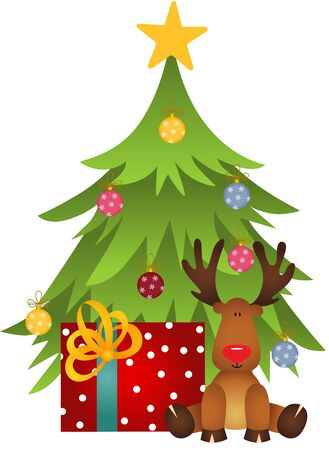 december holidays: Cute reindeer with Christmas tree and gift