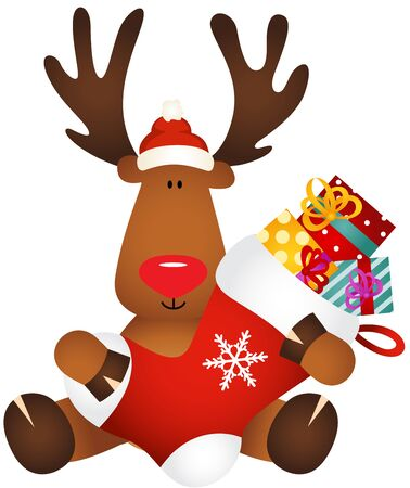 cervidae: Cute reindeer holding Christmas stocking with gifts