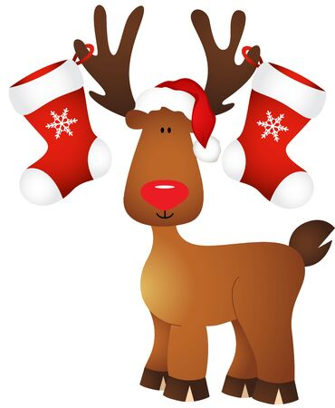 cervidae: Cute reindeer with Christmas stocking Illustration
