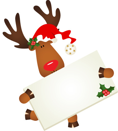 december holidays: Cute reindeer with signboard