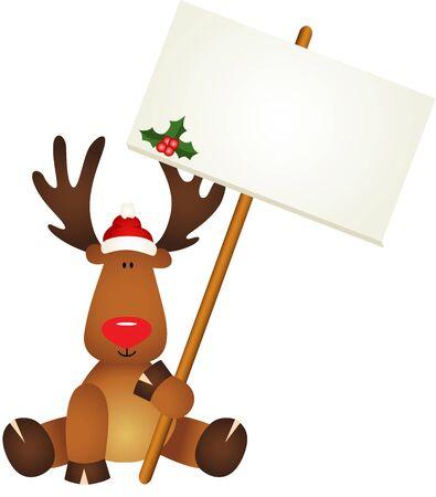 cervidae: Reindeer with signboard