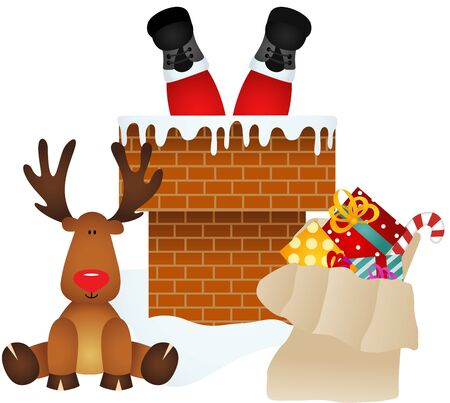 Santa Claus entering through the chimney with reindeer
