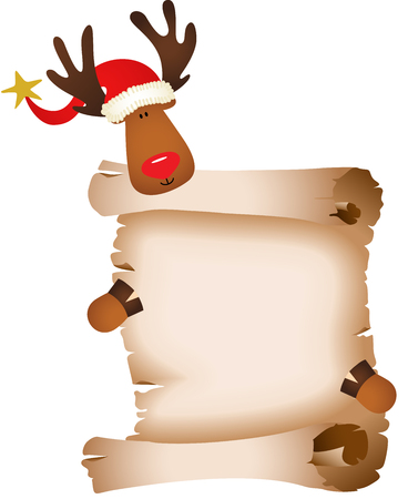 cervidae: Cute reindeer with parchment