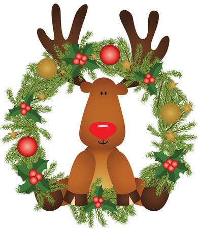 cervidae: Reindeer sitting in a Christmas wreath