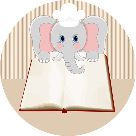 Baby elephant with blank cookbook