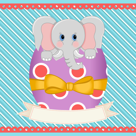 Easter egg elephant inside with banner