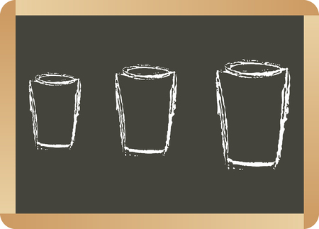 glass cup: School board with glass cup Illustration