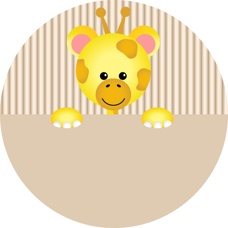 Autoadesivo rotondo giraffa