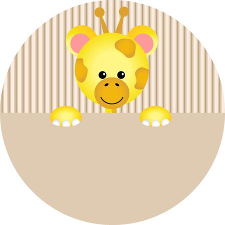 etiqueta de jirafa linda Ilustración de vector