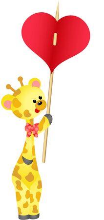 carries: Cute giraffe carries heart
