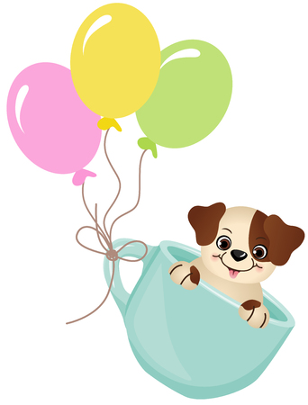 cute dog: Cute dog in teacup with balloons
