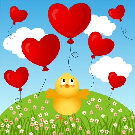 Polluelo con fondo de globos de corazón volador