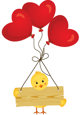 heart sign: Chick with wooden sign and heart balloons Illustration