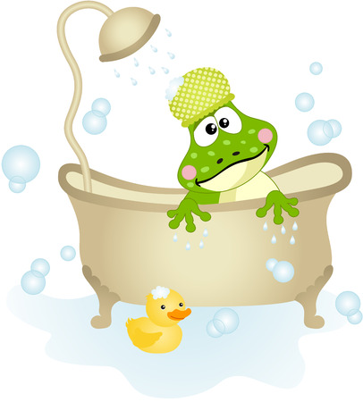 anura: Cute frog taking a bath
