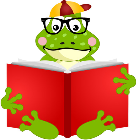 anura: Cute frog reading a book