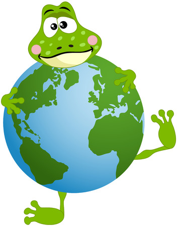 anura: Cute frog with globe Illustration