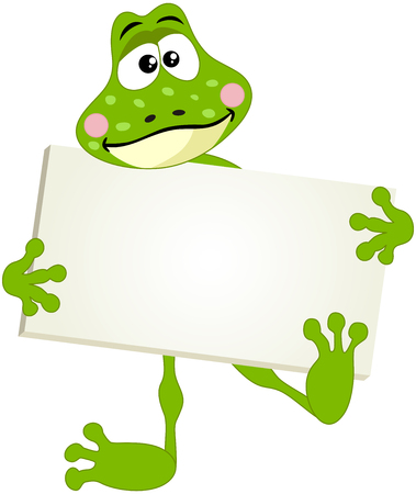 anura: Cute frog with signboard