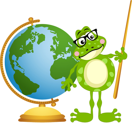 anura: Frog teacher with globe Illustration