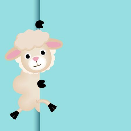 Cute sheep peeking out