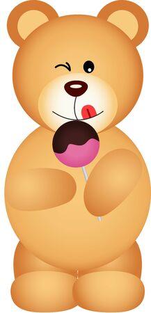Teddy bear eating lollipop Illustration
