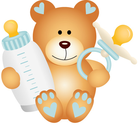 baby bear: Baby boy teddy bear with baby pacifier and bottle milk