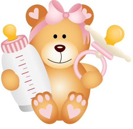 people sleeping: Baby girl teddy bear with baby pacifier and bottle milk