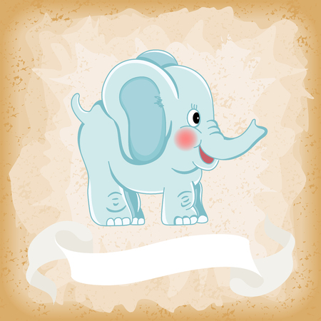 Baby elephant blue on old vintage background Ilustração