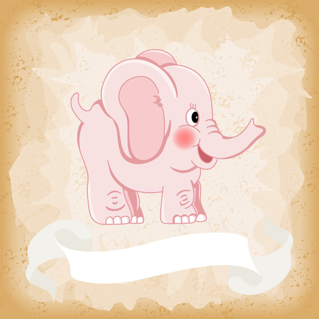 Baby elephant pink on old vintage background