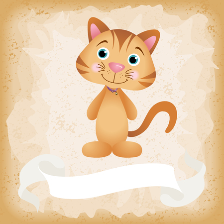 Cute cat on old vintage background