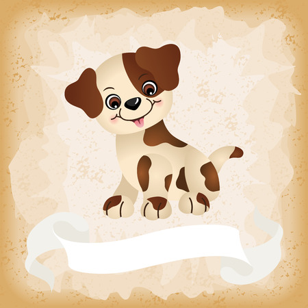 Cute dog on old vintage background Ilustração