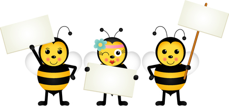letreros: Three bees holding blank signboards Vectores