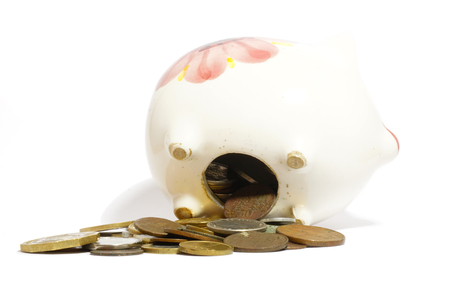 animal figurines: Overloaded piggy bank and coins isolated on white.