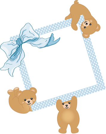 children birthday: Baby teddy bears holding blue frame and ribbon