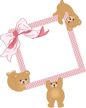 marco cumpleaños: El elefante del bebé con marco de color rosa y la cinta Vectores