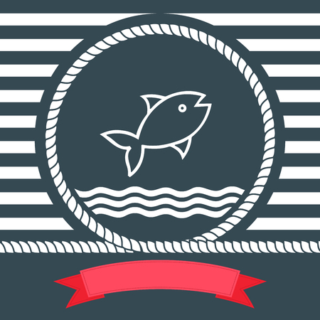 vintage wave: Nautical illustration with fish Illustration