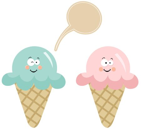 couple in summer: Couple ice cream with speech balloon