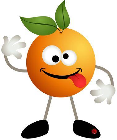 Funny orange fruit cartoon