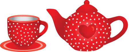 Love red tea cup and teapot Çizim