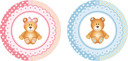 baby bear: Baby Shower round sticker labels with teddy bear Illustration