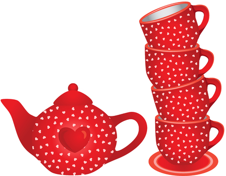 Stack of red tea cups and teapot with hearts