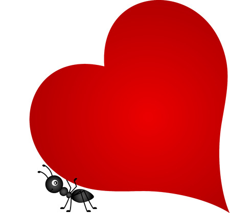 Ant carrying red heart Stock Illustratie