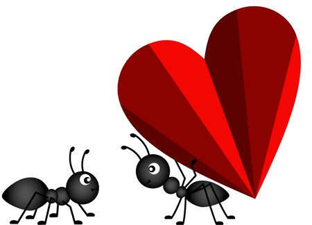 Ant Gives a heart to a friend Illustration