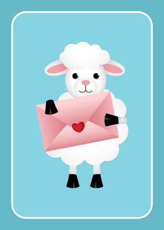 sheep love: Sheep love holding envelope Illustration