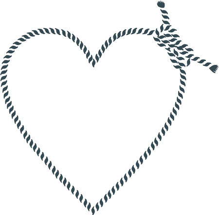 romantic getaway: Heart shape made with rope