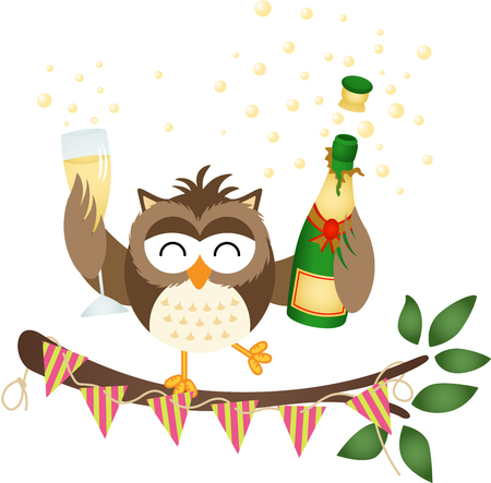 Owl at a party with bottle of champagne and glass