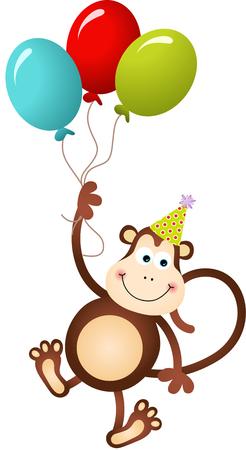 babys: Birthday monkey flying with balloons Illustration
