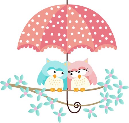 cute animal: Cute owls couple under umbrella