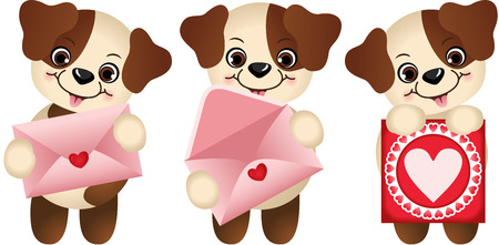 Dogs with envelope and heart postcard