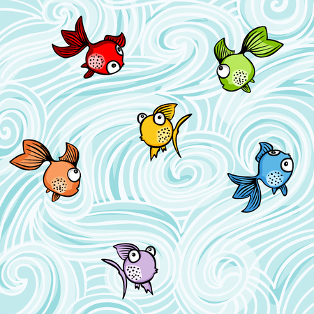 Funny colorful fishes background